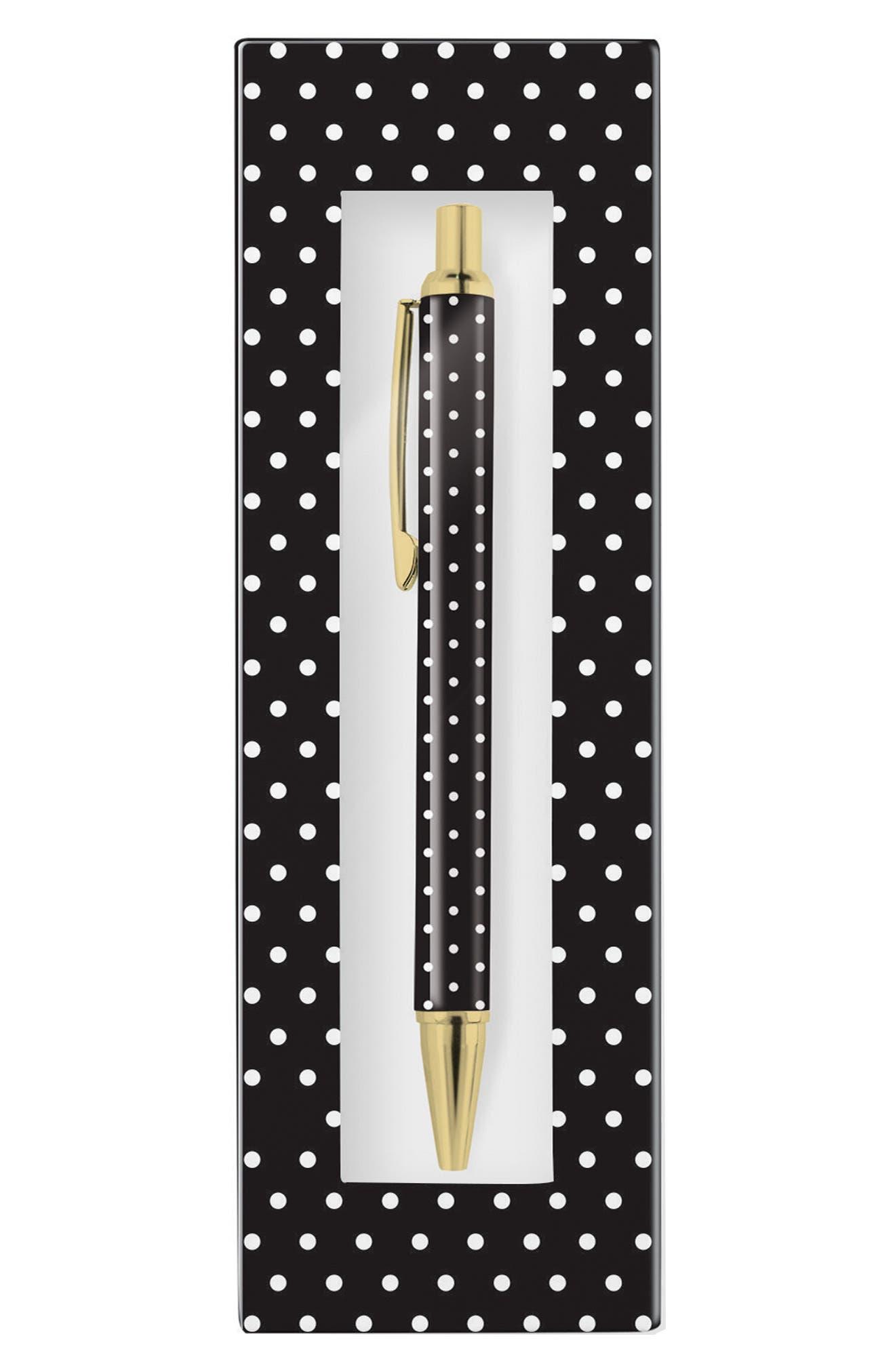 ,                             'Pas - Black & White Dot' Retractable Metal Ballpoint Pen,                             Alternate thumbnail 2, color,                             001