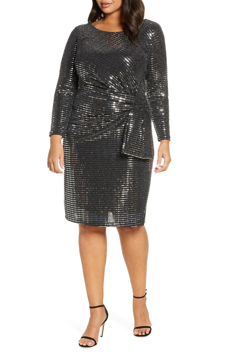 BETSY & ADAM Holographic Long Sleeve Knit Cocktail Dress, Main, color, 002