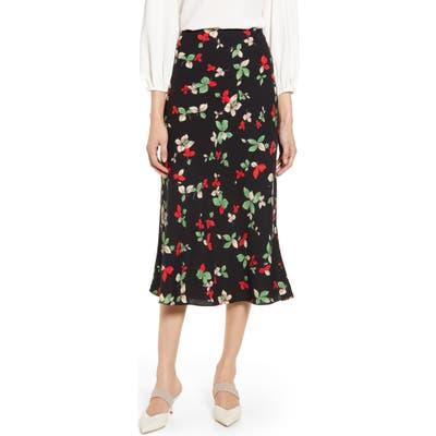 Halogen Bias Cut A-Line Midi Skirt, Black