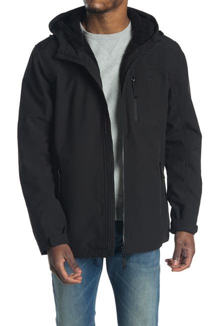 Image of Izod Faux Shearling Lined Hooded Jacket