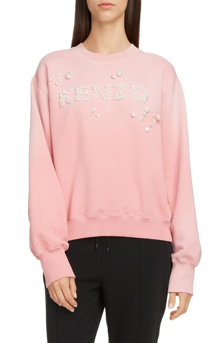 KENZO Imitation Pearl Logo Cotton Sweatshirt, Main, color, FLAMINGO PINK