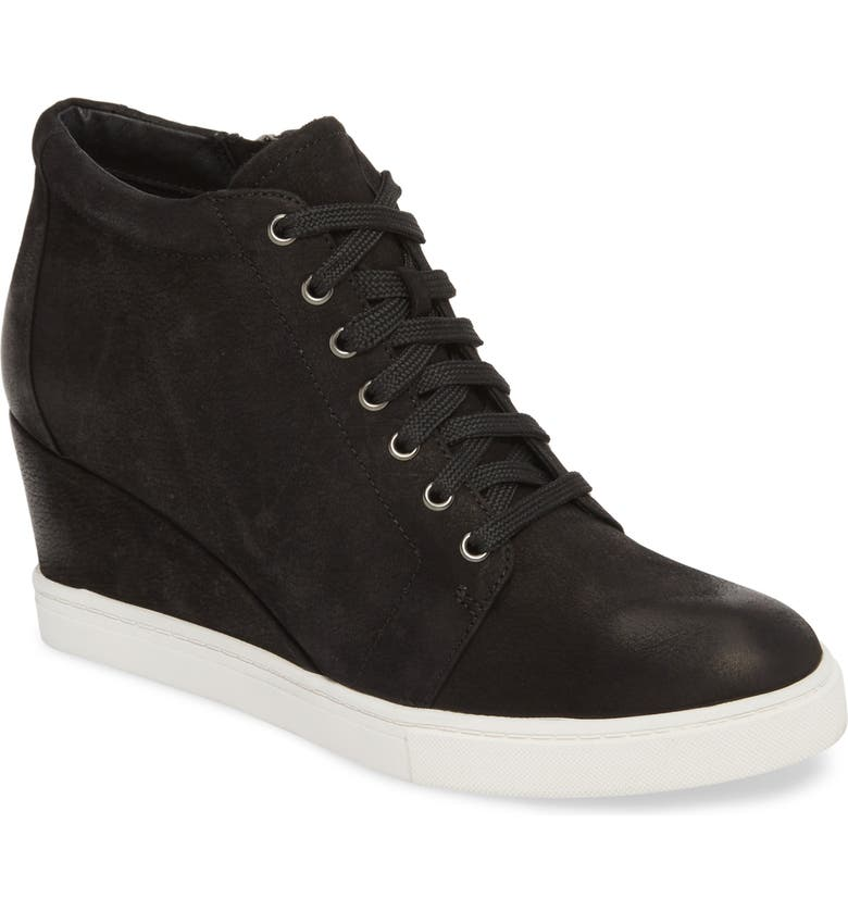 CASLON<SUP>®</SUP> Axel Wedge Sneaker, Main, color, BLACK OILED NUBUCK