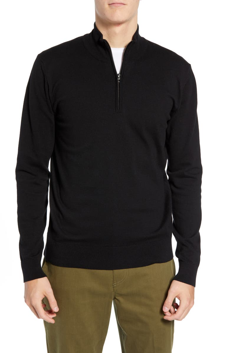 FRENCH CONNECTION Stretch Cotton Quarter Zip Sweater, Main, color, BLACK