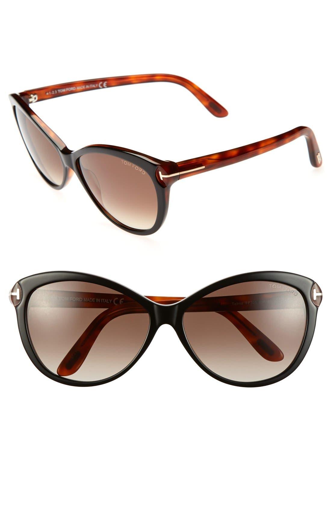 ,                             'Telma' 60mm Cat Eye Sunglasses,                             Main thumbnail 3, color,                             011
