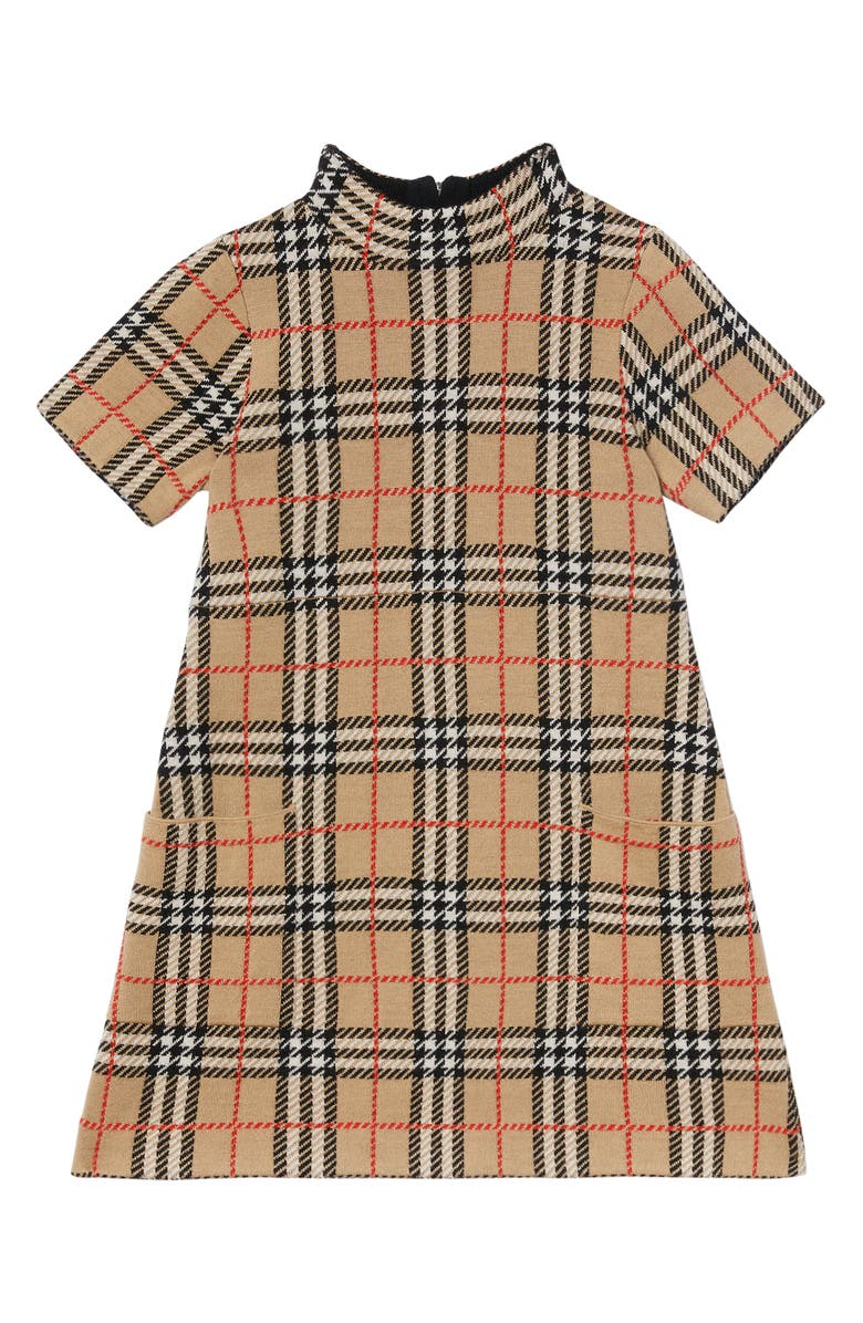 BURBERRY Denise Check Merino Wool Dress, Main, color, ARCHIVE BEIGE