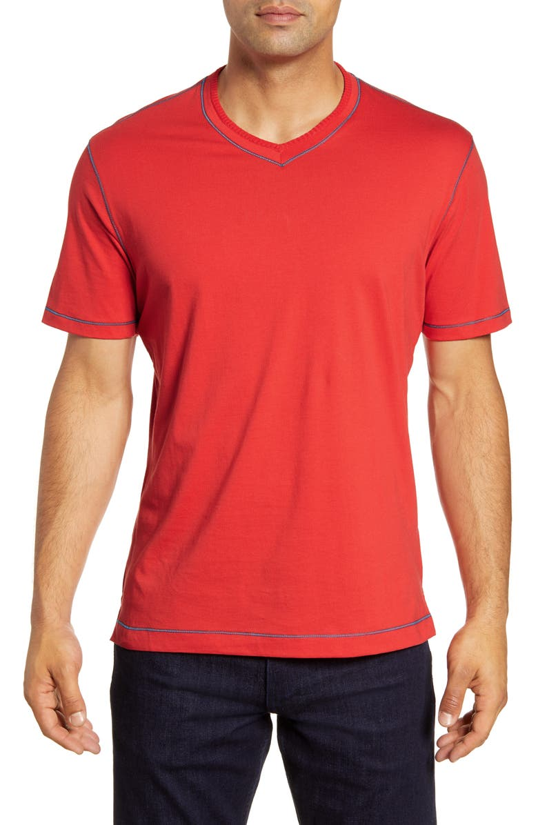ROBERT GRAHAM Maxfield Tailored Fit V-Neck T-Shirt, Main, color, BURNT ORANGE