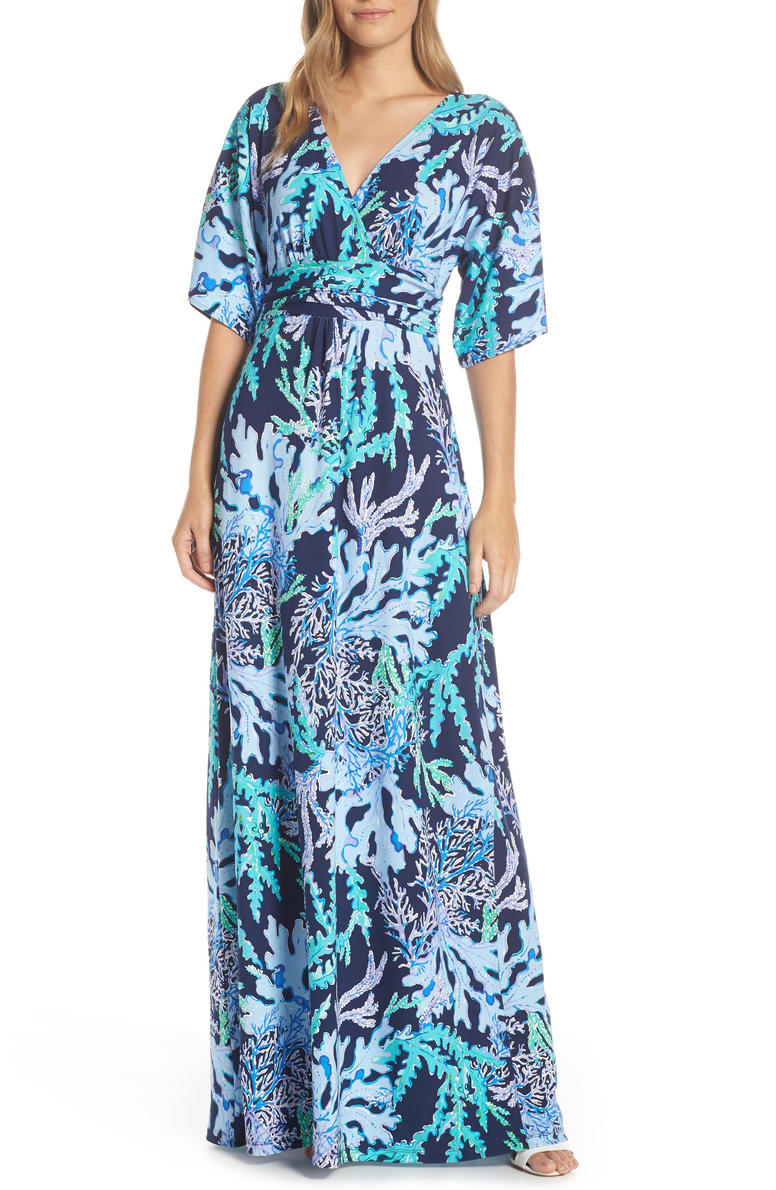 Lilly Pulitzer Parigi Maxi Dress, Blue/green
