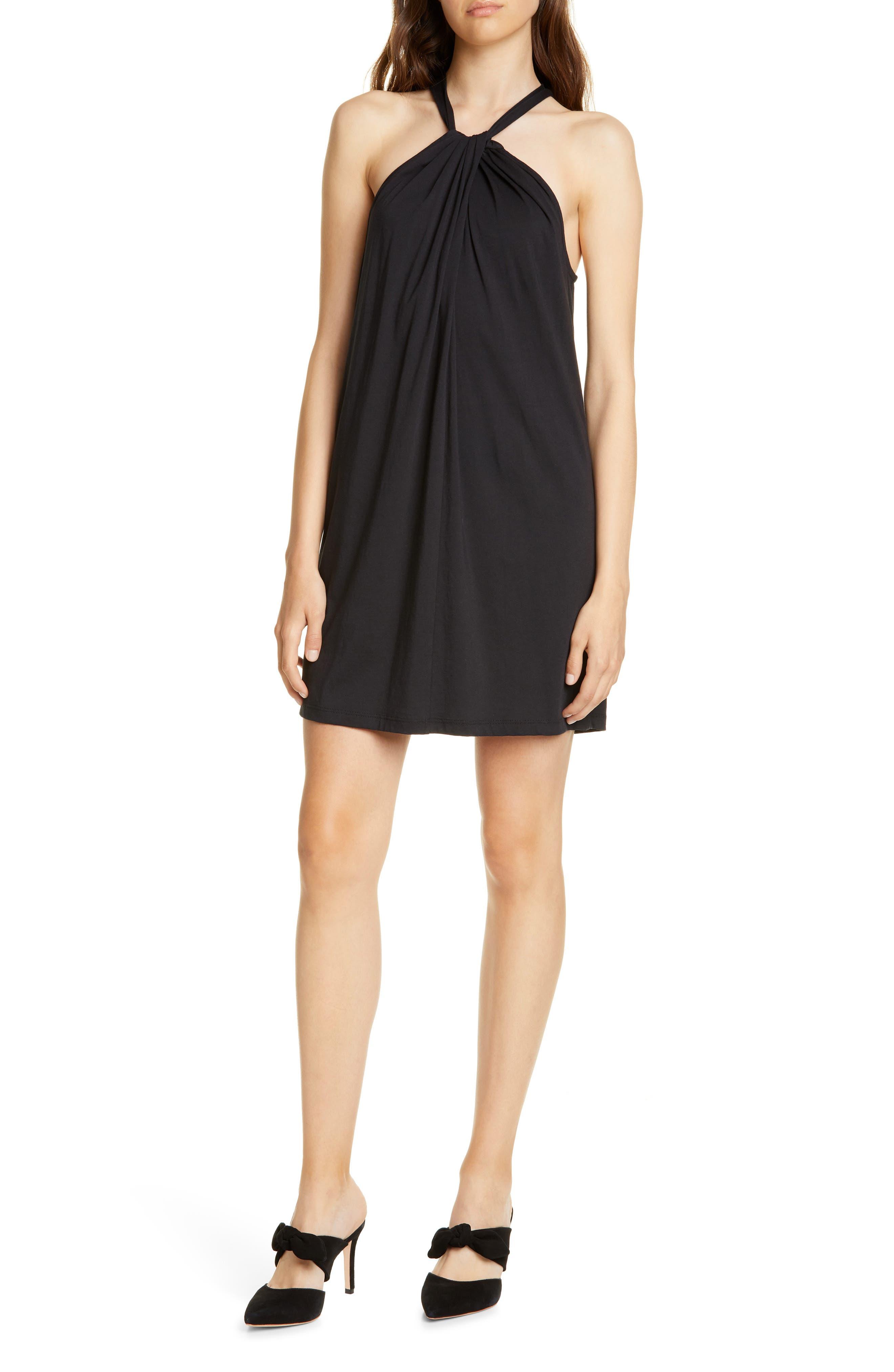 Joie Condel Halter Neck Cotton Minidress, Black
