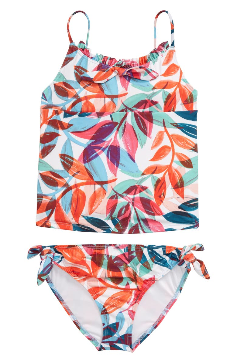 HEART AND HARMONY Leaf Print Two-Piece Tankini Swimsuit, Main, color, 650