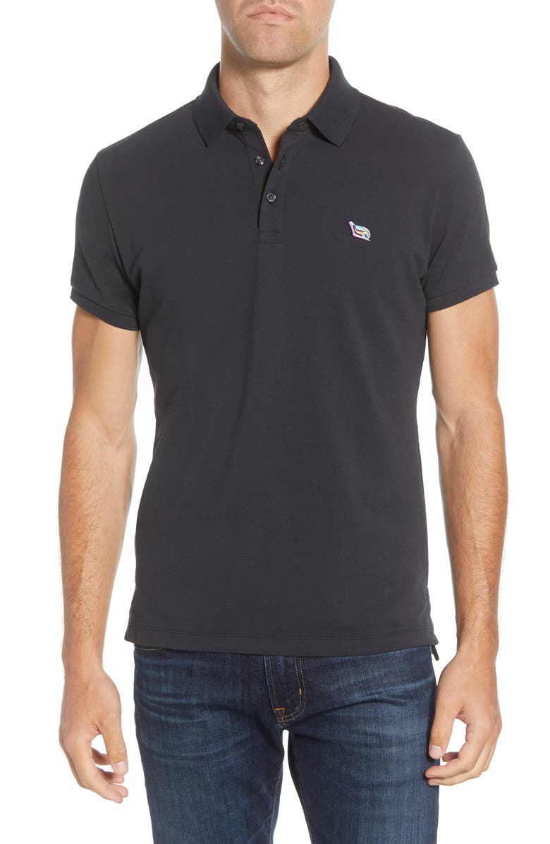 BONOBOS Slim Fit Piqué Polo, Main, color, JET BLACK SNAIL