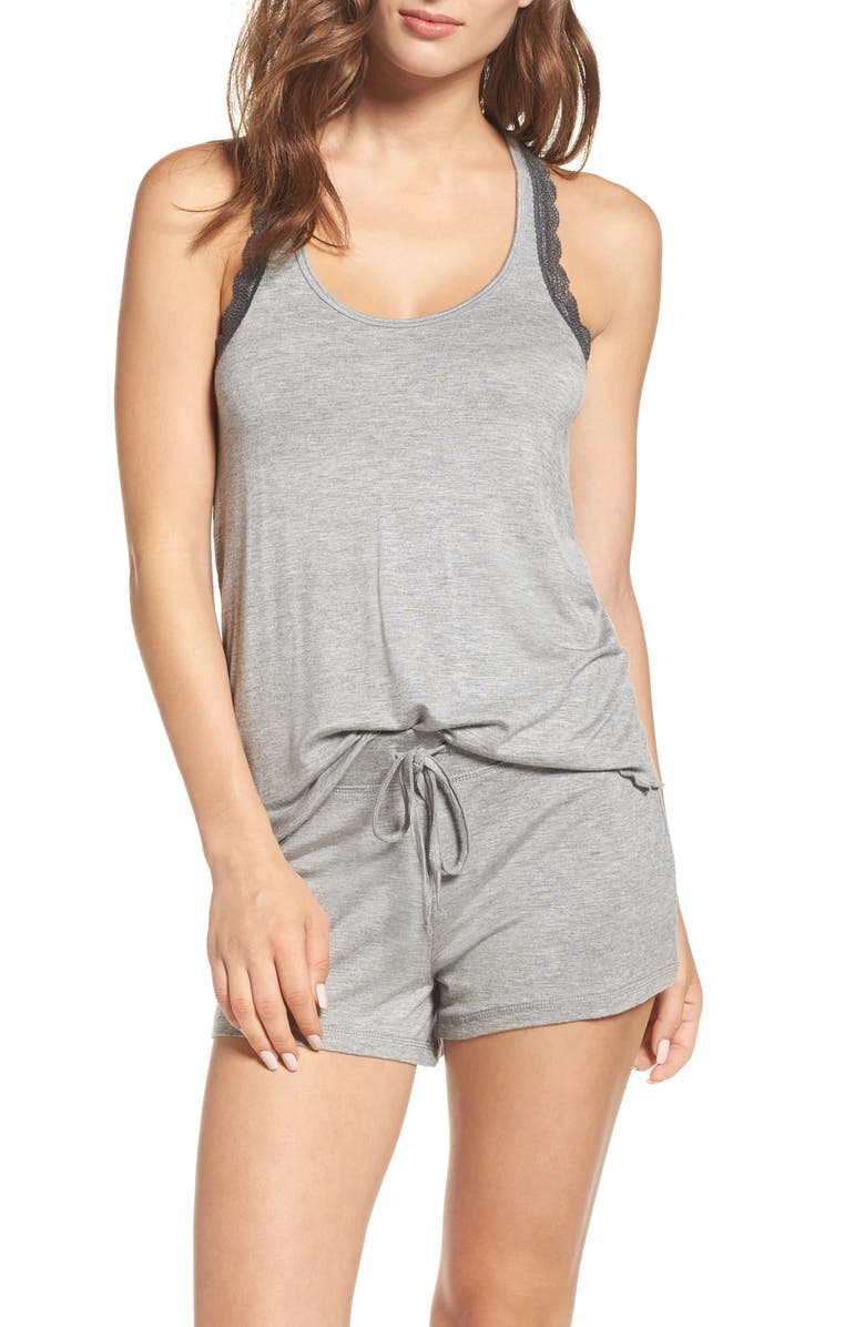HONEYDEW INTIMATES All American Lace Trim Short Pajamas, Main, color, HEATHER GREY