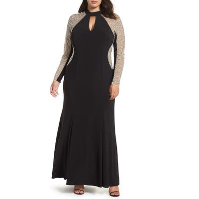 Plus Size Xscape Beaded A-Line Gown, Black