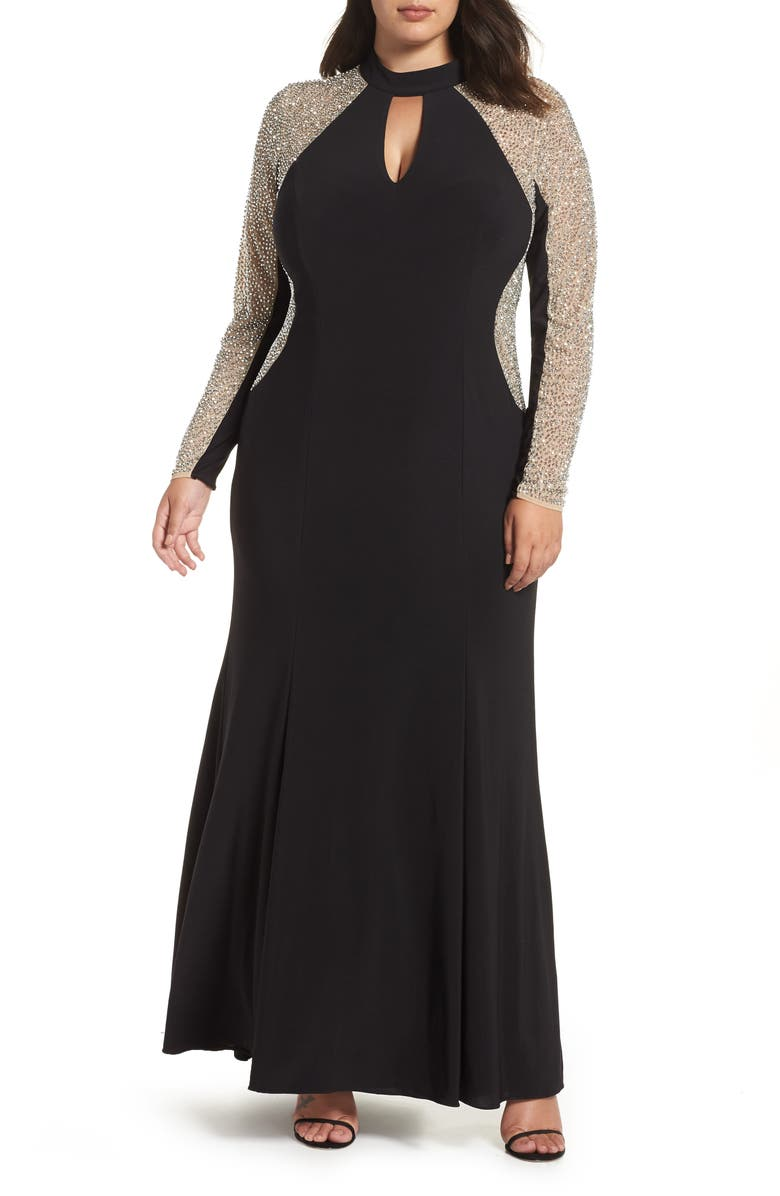 XSCAPE Beaded A-Line Gown, Main, color, BLACK/ NUDE/ SILVER