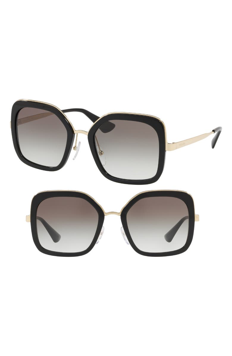 PRADA Cinma Evolution 54mm Sunglasses, Main, color, BLACK/ GREY GRADIENT