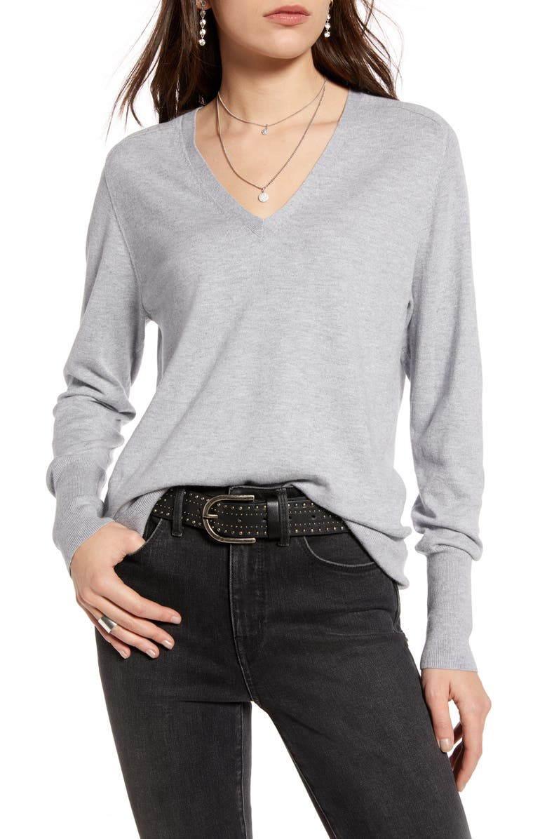 TREASURE & BOND V-Neck Sweater, Main, color, GREY LIGHT HEATHER