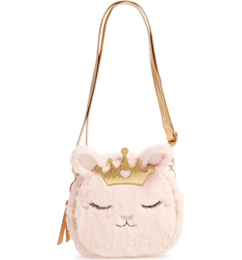 UNDER ONE SKY Princess Kitty Faux Fur Crossbody Bag, Main, color, PINK