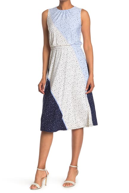 Image of London Times Texture Speckle Printed Jersey Dress