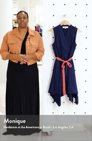Marlene Handkerchief Hem Stretch Cotton Wrap Dress, sales video thumbnail