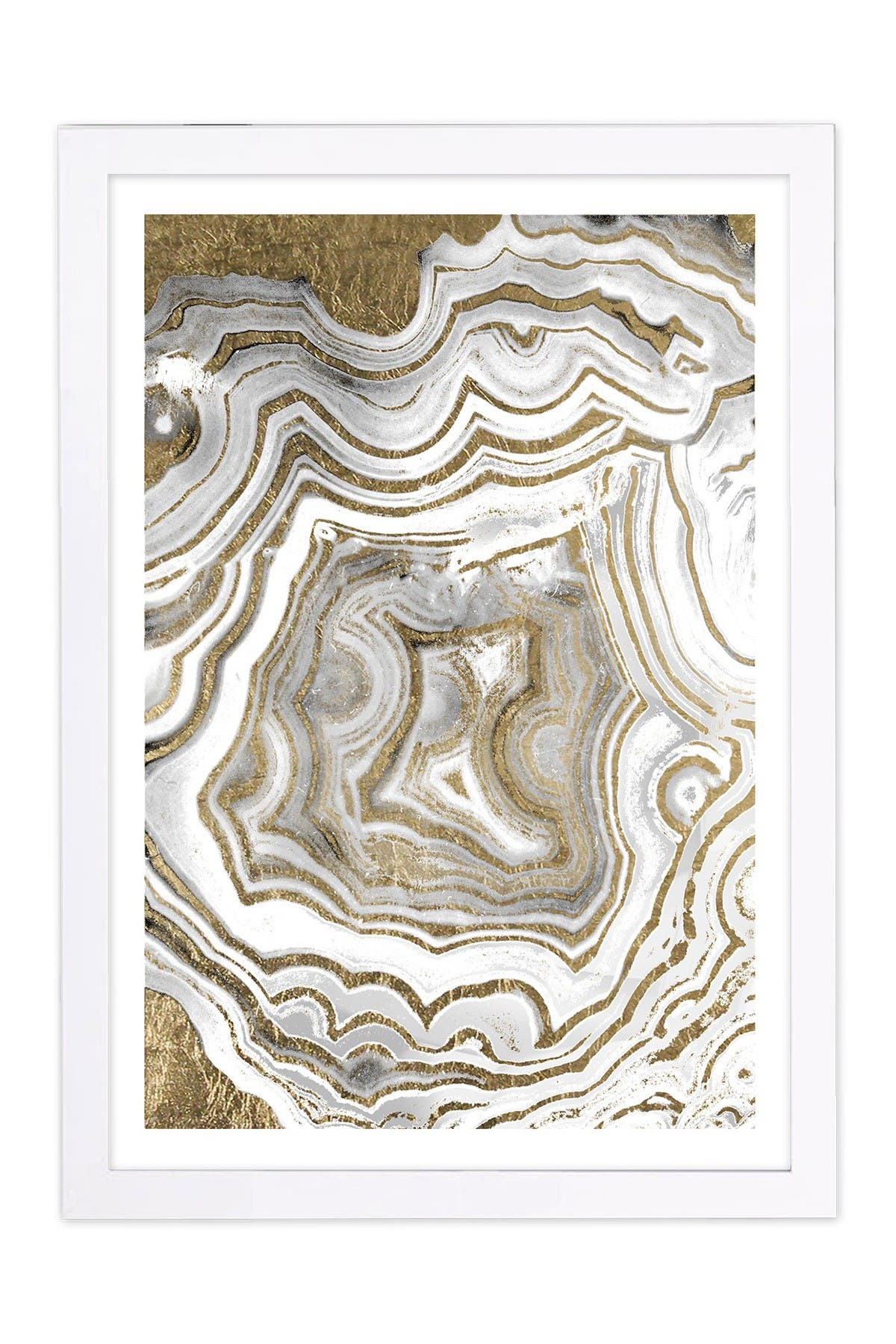 Image of Wynwood Studio Agate Gold Gold Abstract Framed Wall Art