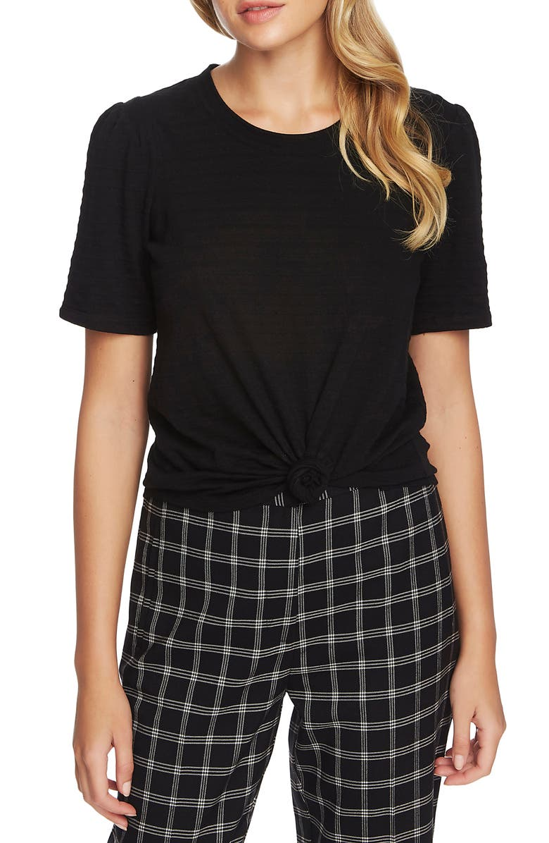 1.STATE Textured Puff Sleeve Top, Main, color, RICH BLACK