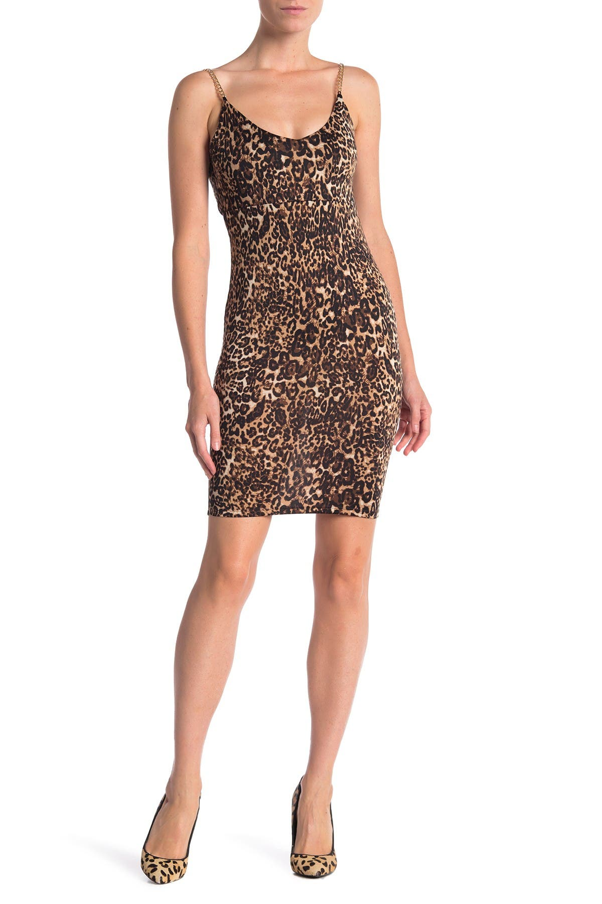 Image of bebe Chain Strap Cheetah Print Dress