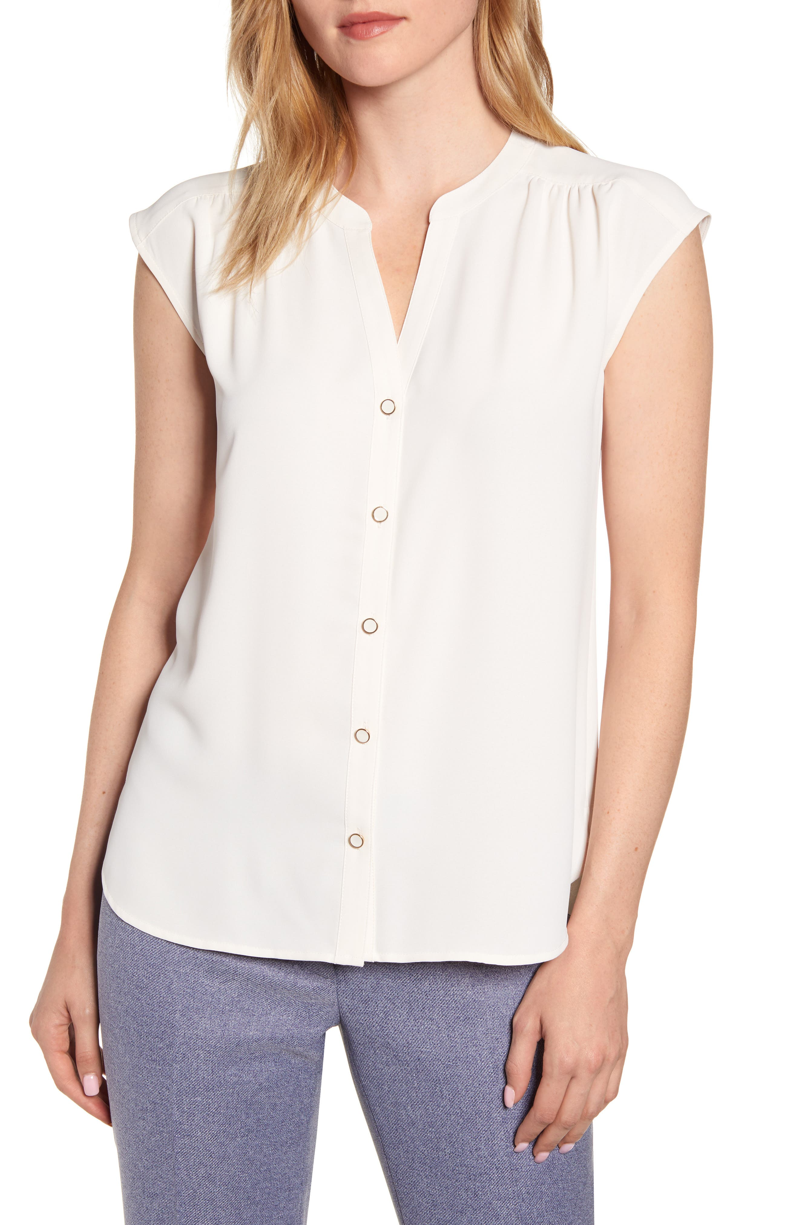 Image of Anne Klein Sleeveless Button-Up Blouse
