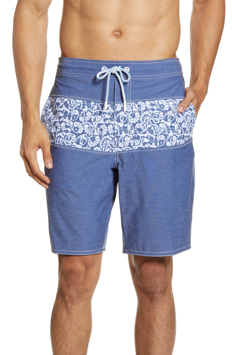 JOHNNIE-O Lobos Floral Swim Trunks, Main, color, HELIOS BLUE