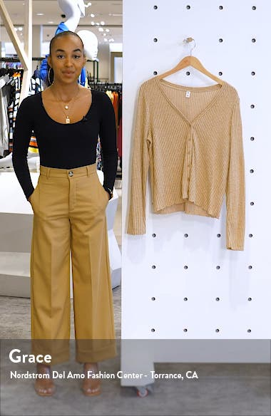 Button Front Long Sleeve Waffle Knit Top, sales video thumbnail