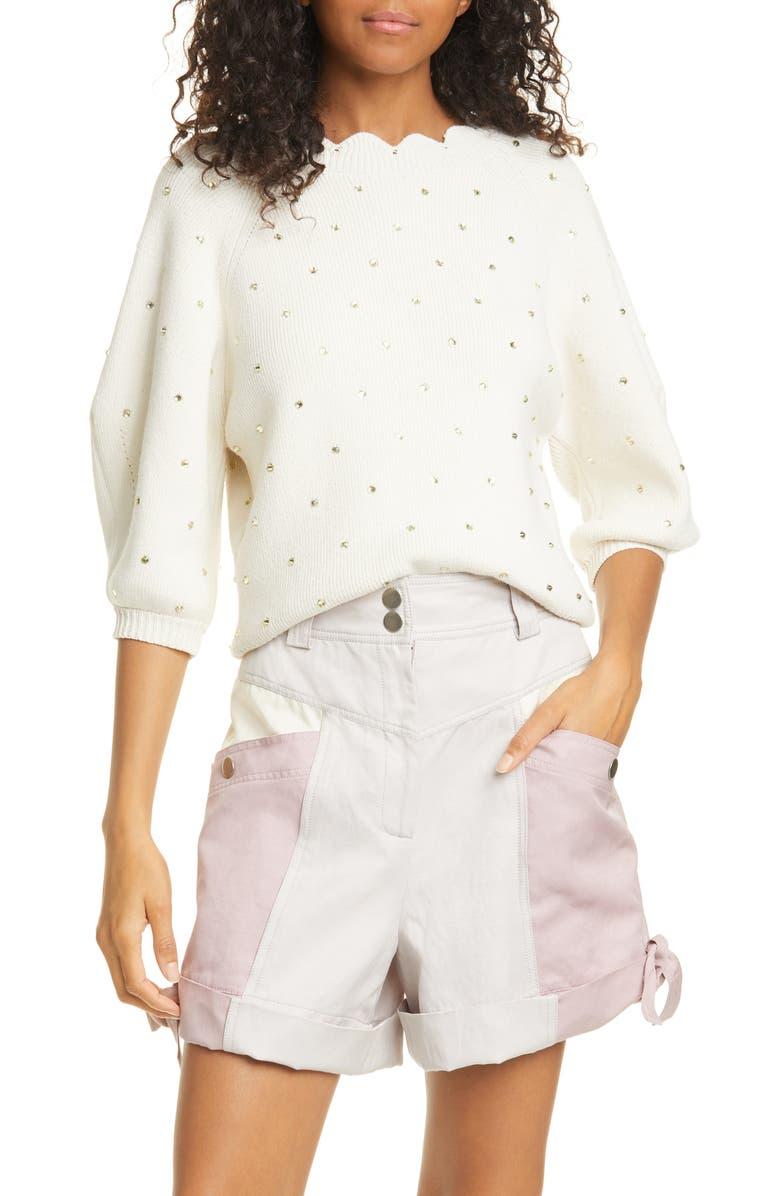 REBECCA TAYLOR Embellished Cotton Blend Sweater, Main, color, 650
