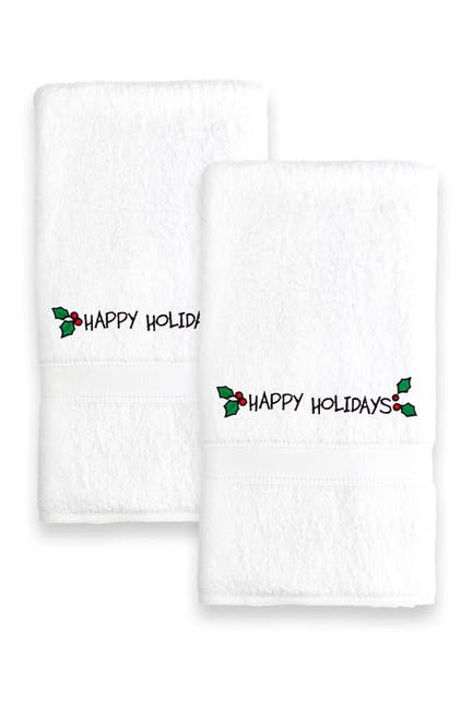 Image of LINUM TOWELS Happy Holiday Ornament Embroidered Hand Towels - Set of 2