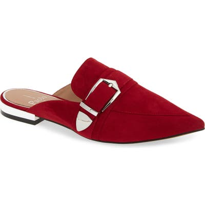 Linea Paolo Ace Buckle Pointed Toe Mule, Red