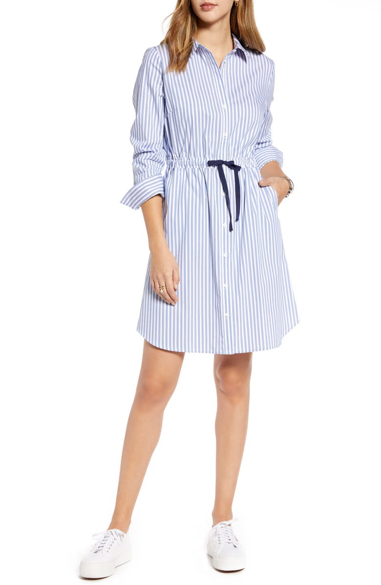 1901 Cinched Waist Long Sleeve Shirtdress, Main, color, WHITE-BLUE ROPE STRIPE