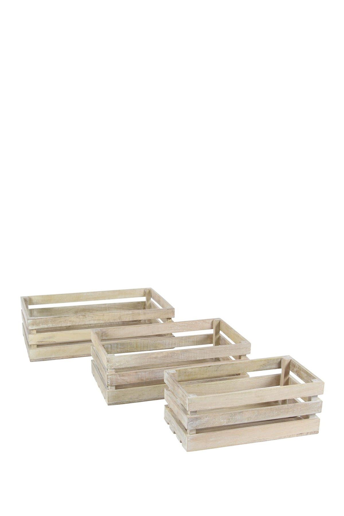 Image of Willow Row Light Brown Wood Crate - Set of 3