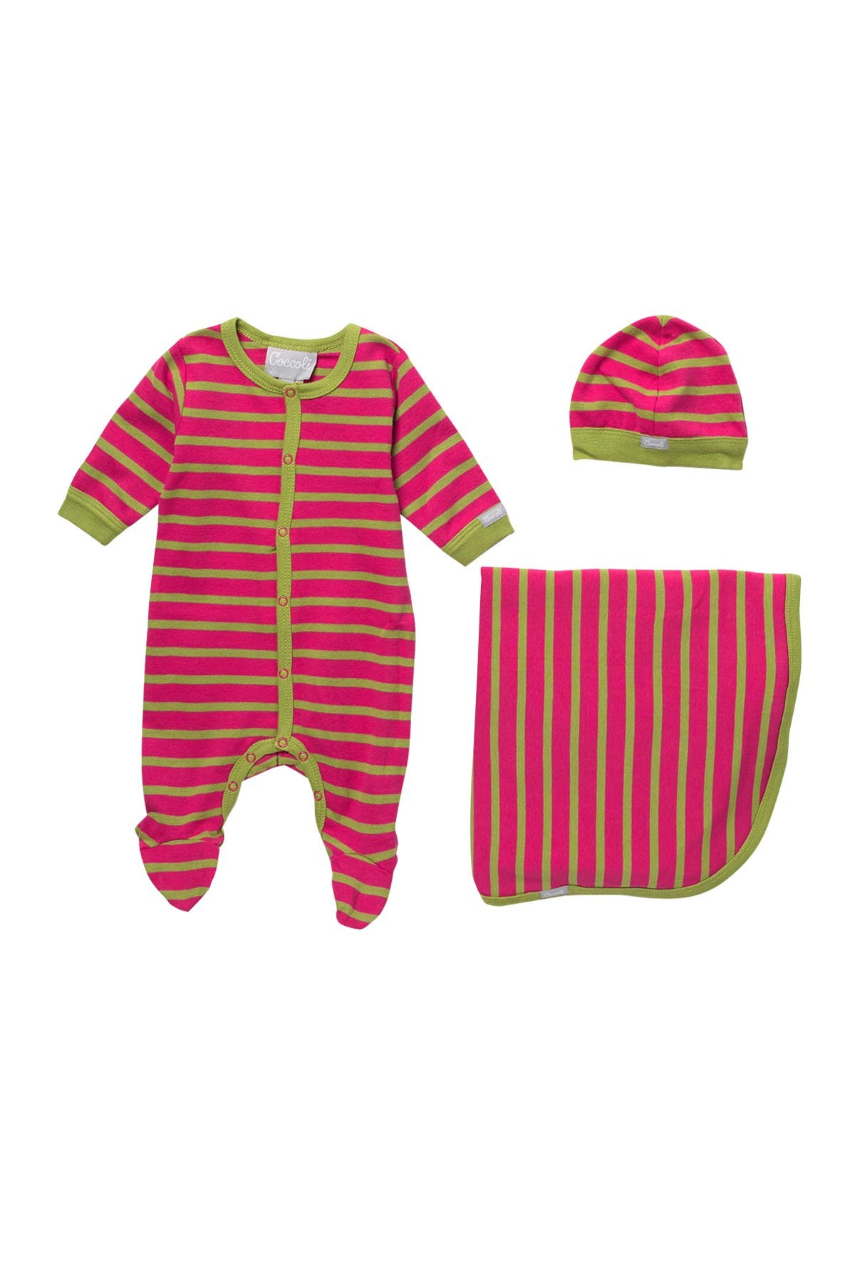 Image of Coccoli Cotton Stripe Print Footie, Cap, & Blanket 3-Piece Set