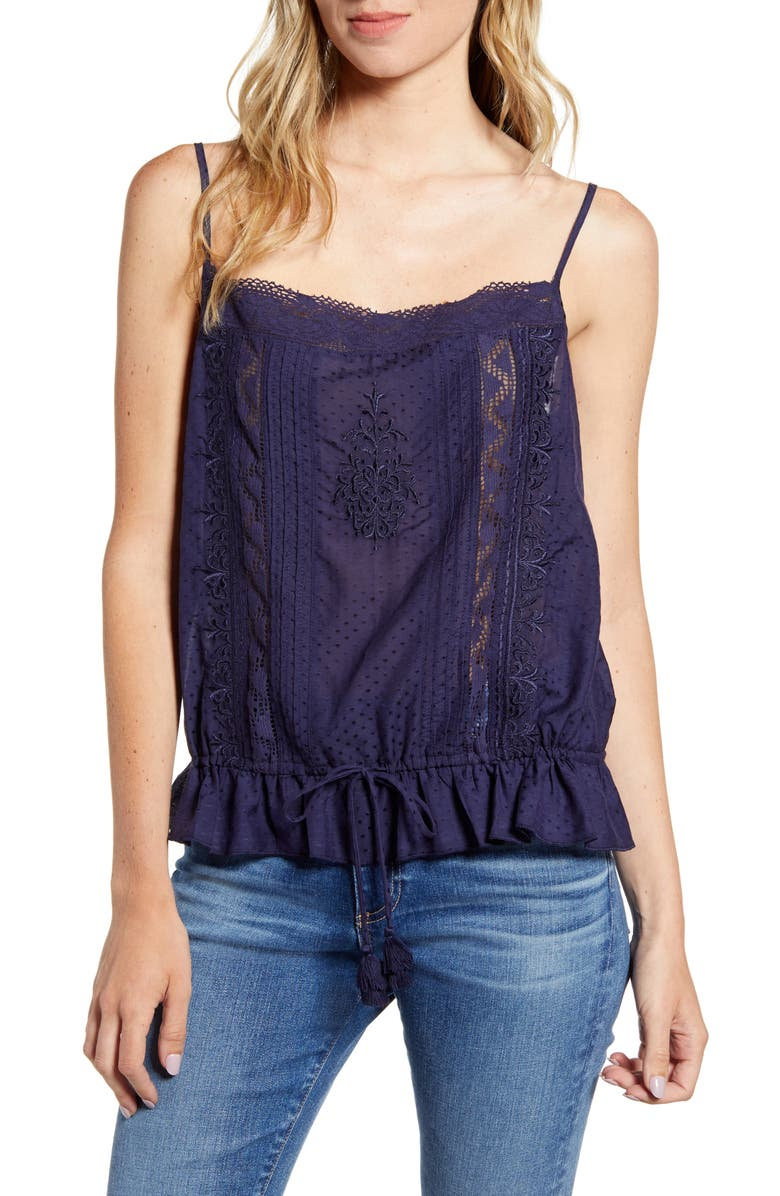 HINGE Woven Embroidered Camisole, Main, color, NAVY DUSK