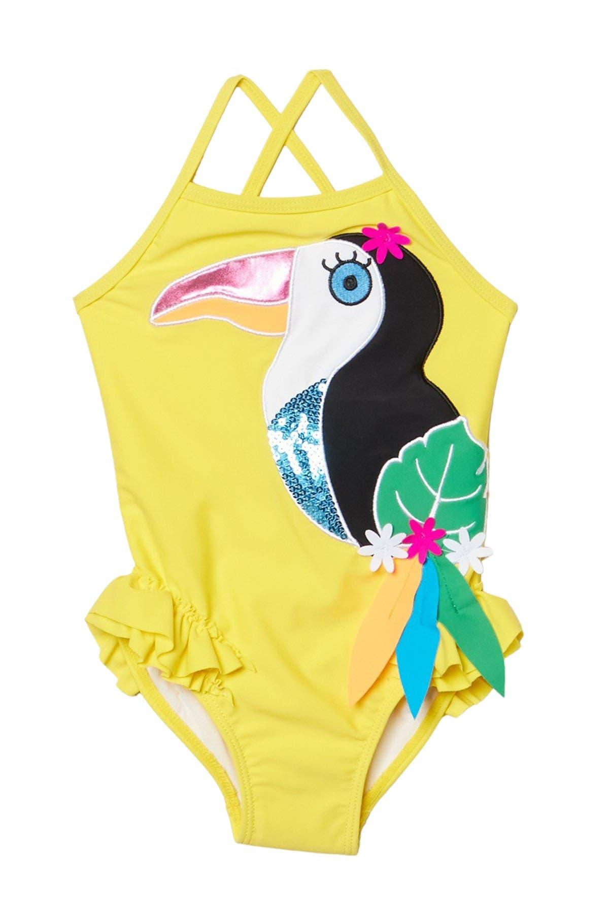 Image of Flapdoodles Toucan Applique One-Piece Swimsuit