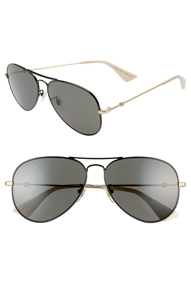 GUCCI 60mm Aviator Sunglasses, Main, color, SHINY BLACK/GREY