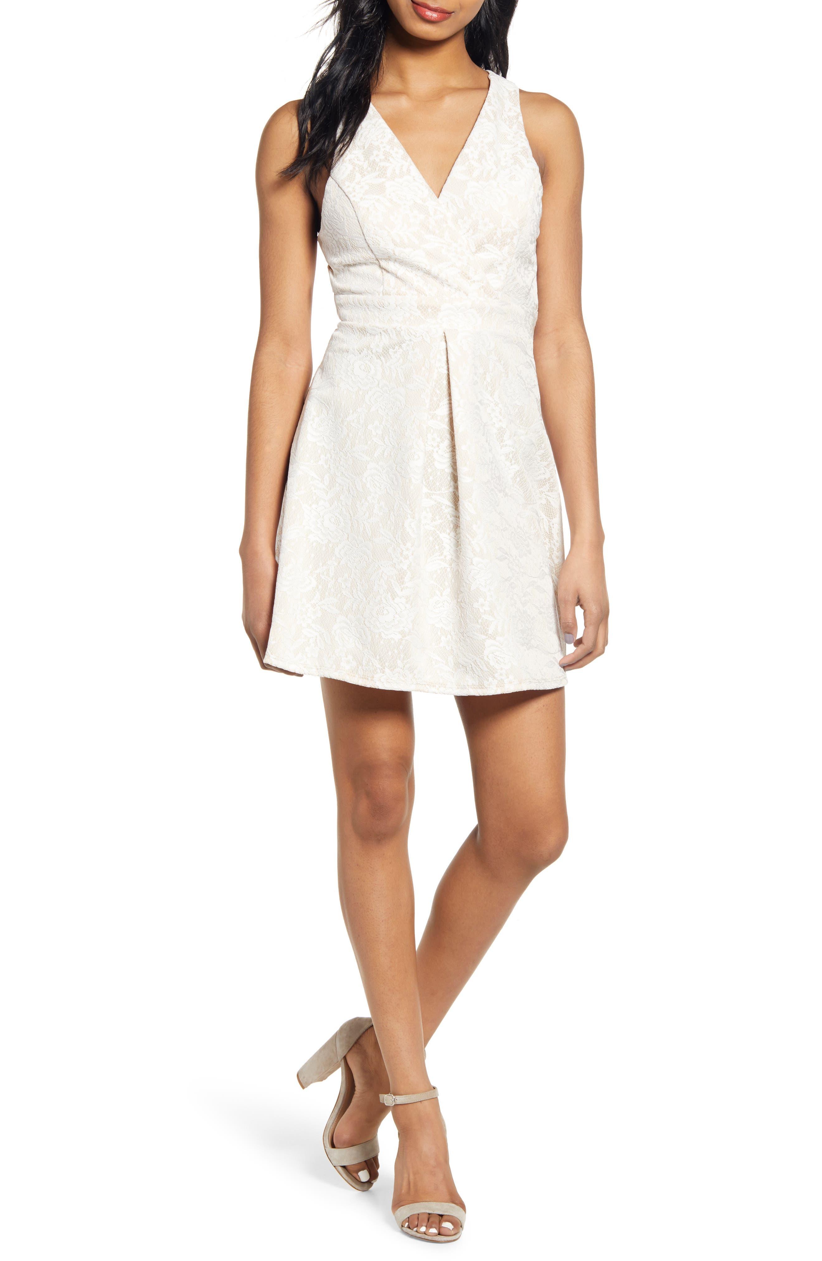 Speechless Strappy Open Back Sleeveless Jacquard Fit & Flare Dress, Ivory