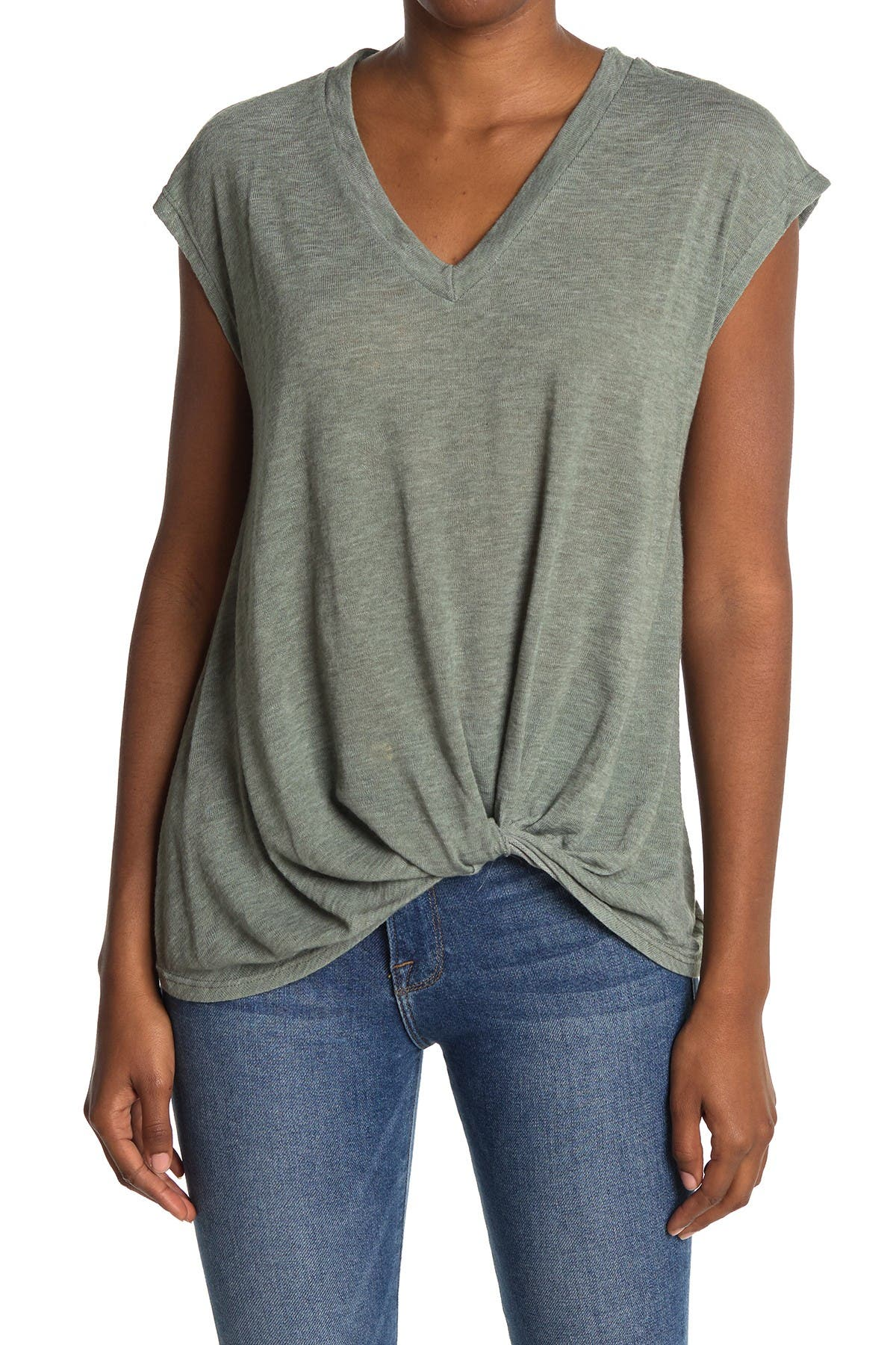 Image of Pleione Crepe Twist Front Shirt