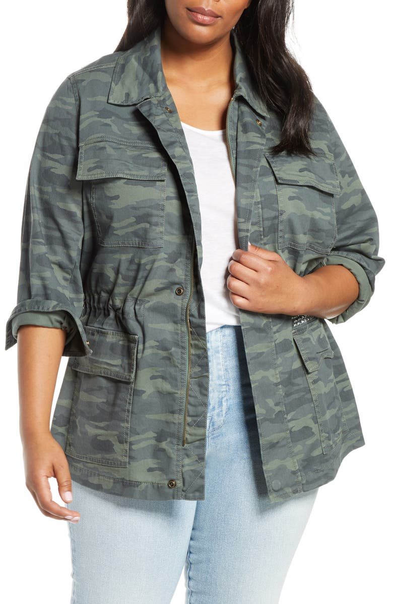 CASLON<SUP>®</SUP> Camo Stretch Cotton Utility Jacket, Main, color, OLIVE BRITISH CAMO