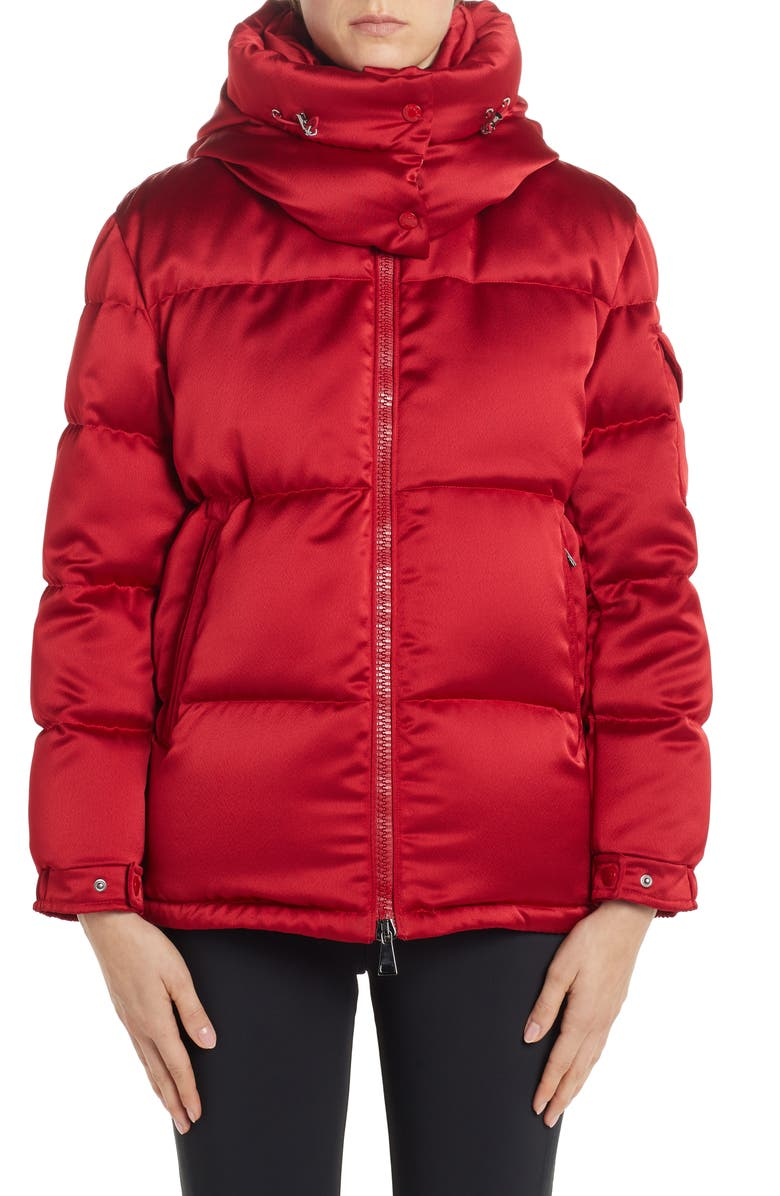 MONCLER Wil Hooded Quilted Down Satin Puffer Jacket, Main, color, RED