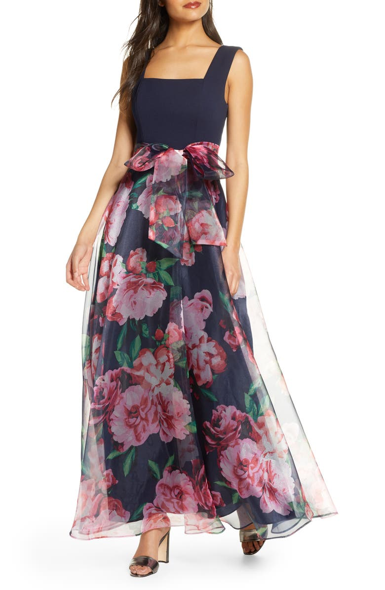 ELIZA J Flower Print Gown, Main, color, NAVY MULTI