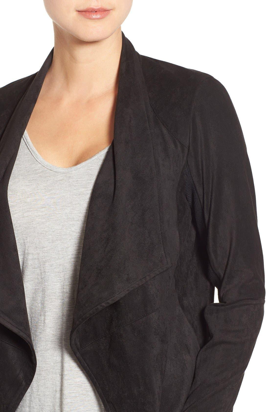 ,                             Nicholson Faux Suede Drape Front Jacket,                             Alternate thumbnail 9, color,                             001