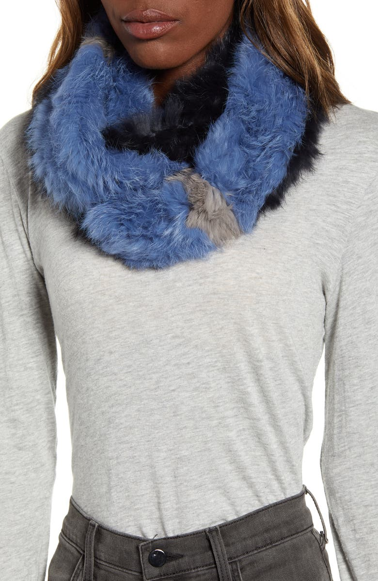 LOVE TOKEN Genuine Rabbit Fur Infinity Scarf, Main, color, NAVY COMBO