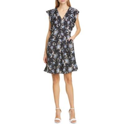 Rebecca Taylor Ruffle Paisley Silk Blend Dress, Black