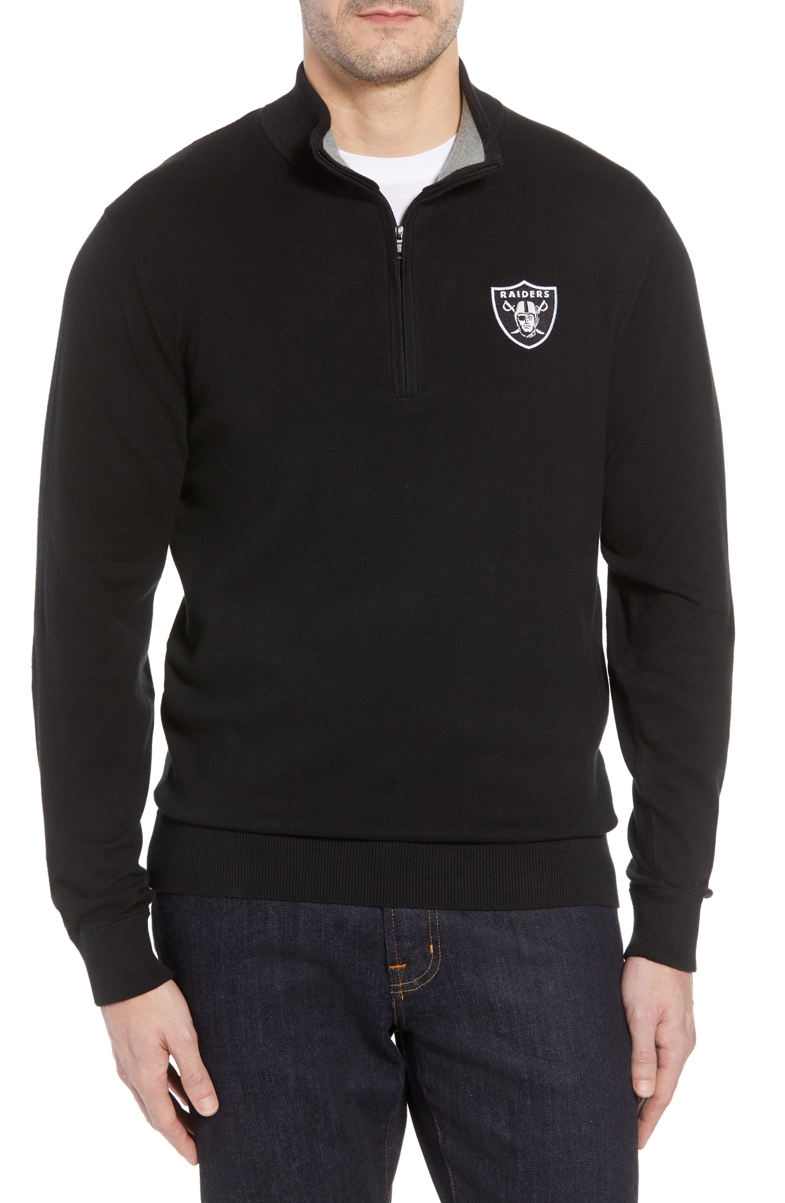 Las Vegas Raiders Lakemont Regular Fit Quarter Zip Sweater