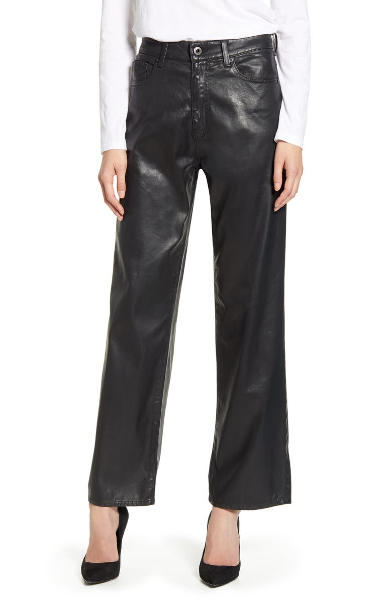 AG The Tomas High Waist Wide Leg Coated Jeans, Main, color, SUPER BLACK