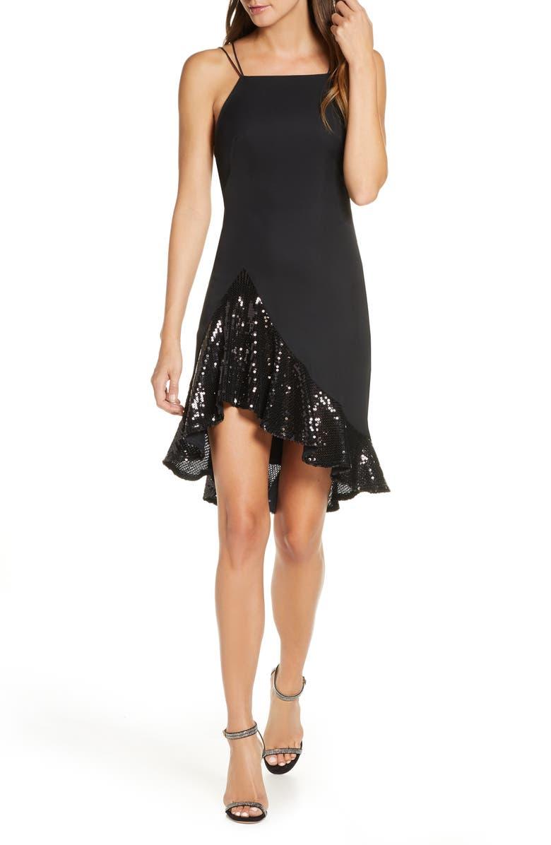 SHO Asymmetrical Sequin Cocktail Dress, Main, color, BLACK