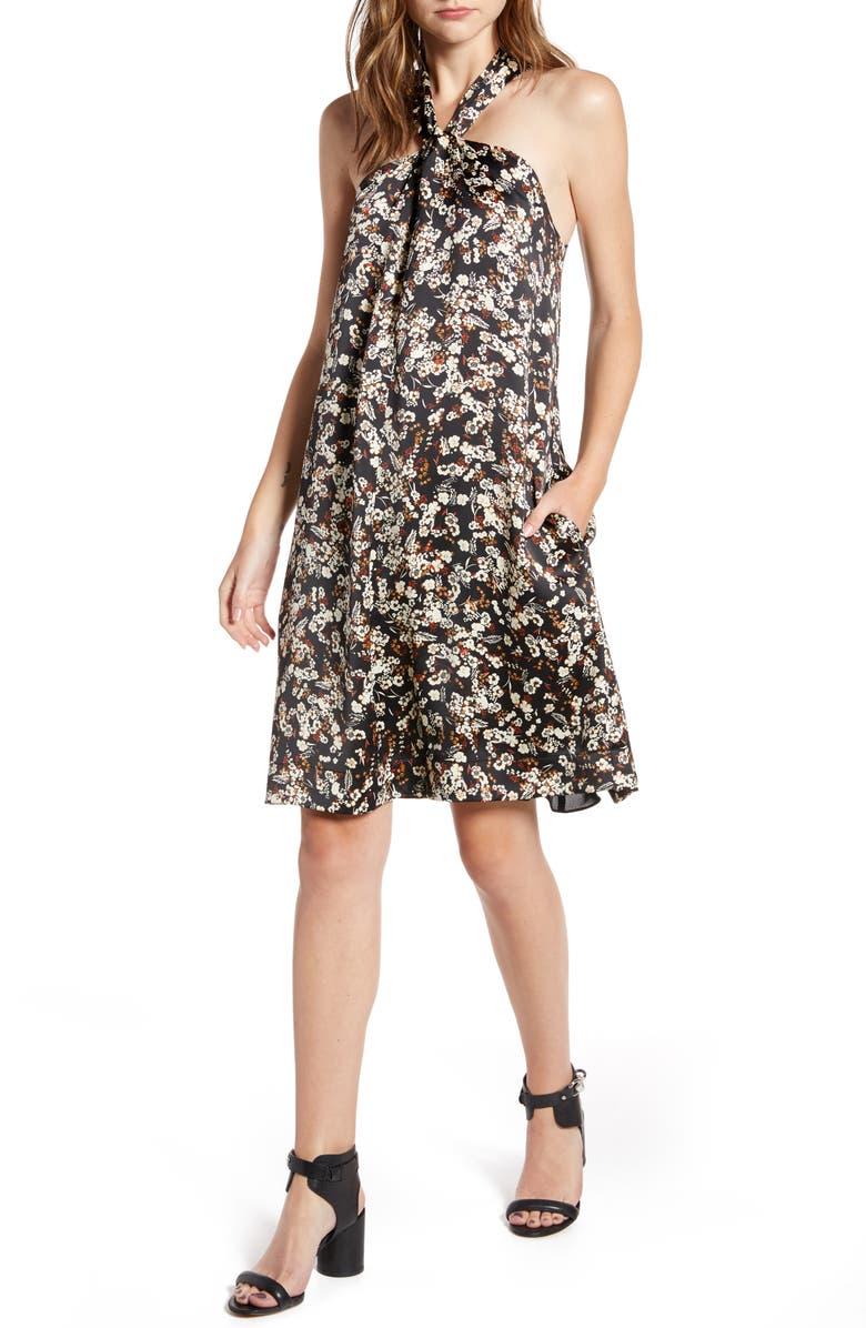 REBECCA MINKOFF Winnie Floral Halter Neck A-Line Dress, Main, color, BLACK MULTI