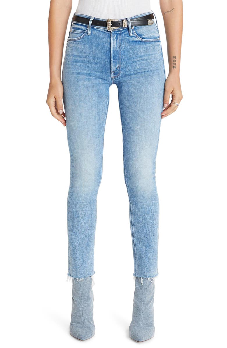 MOTHER The Dazzler High Waist Fray Ankle Straight Leg Jeans, Main, color, 420